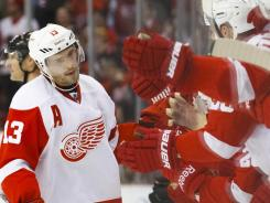 Pavel Datsyuk is the Red Wings' leading scorer with 59 points in 59 games.