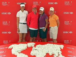 Michelle Wie of the USA, Suzann Pettersen of Norway, Yani Tseng of Taiwan and Karrie Webb of Australia get ready for this week's HSBC Women's Champions in Singapore.