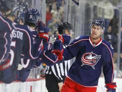 Columbus Blue Jackets center Jeff Carter celebrates his goal against the Minnesota Wild on Feb. 7.
