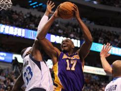 Andrew Bynum (17) had 19 points and 14 rebounds to propel the Lakers to their fifth win in six games.