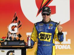 Matt Kenseth poses after winning the second Gatorade Duel at Daytona.