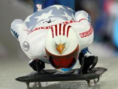 Katie Uhlaender starts her first heat at the women's skeleton world championships in Lake Placid, N.Y., on Thursday.