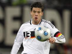 Ballack, shown here during a qualifying match in 2009, played for the German national team, eventually becoming captain. He will provide analysis for ESPN for the European Championship this year.
