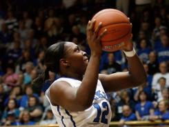 Duke guard Chelsea Gray (12) drives against Miami guard Riquna Williams during the first half of their Fridiay game at Cameron Indoor Stadium. The Blue Devils held of the Hurricanes to clinch the conference tournament's top seed.