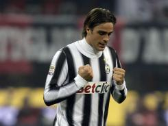 Alessandro Matri celebrates his late equalizer that allowed Juventus to remain unbeaten on the year.