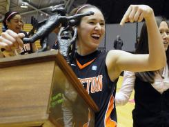 Lauren Edwards celebrates Princeton's Ivy League title, which clinched the nation's first NCAA Tournament bid.