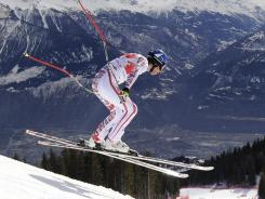 Austria's Benjamin Raich races down the Piste Nationale course during en route to winning Saturday's World Cup super-G race in Switzerland.