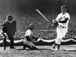 Ted Williams, swinging away on opening day in 1947, went on to win the Triple Crown, hitting .343 with 32 home runs and 114 RBI.