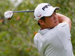 John Huh of the USA tees off the fifth hole during the final round of the Mayakoba Golf Classic.
