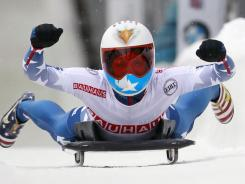 Katie Uhlaender reacts after winning the women's Skeleton World Championships in Lake Placid, N.Y., on Friday.