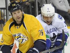Hal Gill, left, was the first of several acquisition to make the Predators more playoff-ready. Vancouver's Cody Hodgson, right, was dealt to Buffalo for rugged Zack Kassian.