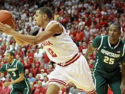 Indiana's Verdell Jones, who had 12 points, looks to make a pass during the first half at Assembly Hall in Bloomington, Ind.