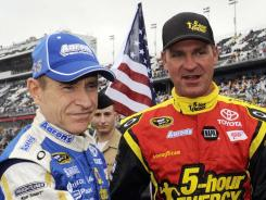 Clint Bowyer, right, was warmly welcomed by new teammate Mark Martin at Michael Waltrip Racing.