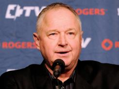 New Toronto Maple Leafs coach Randy Carlyle is introduced at a news conference at Monday's Bell Centre Saturday.