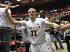 Scott Christopherson celebrates Iowa State's upset of Baylor in his final home game in Ames.