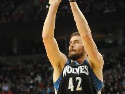 Kevin Love poured in a season-high 42 points as the T'wolves beat the Blazers for the first time since March 25, 2007.
