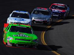 Danica Patrick leads a pack of cars during the Nationwide Series' Bashas Supermarkets 200 at Phoenix International Raceway. She finished in 21st place.