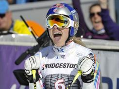 Lindsey Vonn celebrates after her second run in Saturday's women's giant slalom. Vonn finished second.