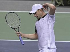 Andy Roddick, shown here at the SAP Open in February, was upset in the sem-finals of the Delray Beach International tennis championships on Friday, despite almost winning the match.