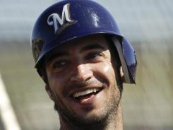 Ryan Braun is all smiles during a spring workout with the Brewers.