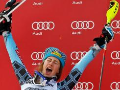 Resi Stiegler of the USA takes takes second place during the Audi FIS Alpine World Cup women's slalom Sunday in Ofterschwang, Germany.