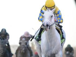 Hansen, ridden by Ramon Dominguez, won the Gotham Stakes Saturday by three lengths.