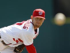 Nationals pitcher Stephen Strasburg struck out three batters in his spring debut.