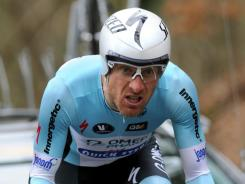 Levi Leipheimer competes in the stage between Dampierre-en-Yvelines and Saint-Remy-Les-Chevreuse in western Paris during the 70th Paris-Nice cycling race.