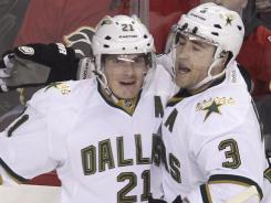 Dallas' Loui Eriksson, left, has four goals and five assists in his last six games.