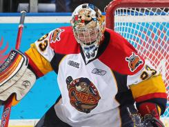 An injury to Erie Otters goalie Ramis Sadikov (pictured) forced forward Connor Crisp to go into the net Sunday.