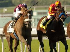 Out of Bounds and jockey Garrett Gomez defeated Secret Circle and jockey Rafael Bejarano in the Sham Stakes in January.