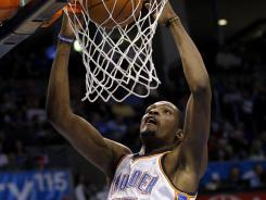 Kevin Durant scored 22 points to help the Thunder win their 13th consecutive home game.