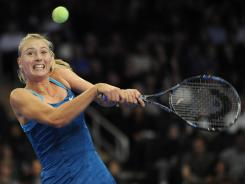Maria Sharapova lines up a backhand during her victory against Caroline Wozniacki during the BNP Paribas Showdown exhibition at Madison Square Garden.