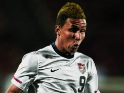 United States and New York Red Bulls forward Juan Agudelo takes a shot on goal against Mexico at FC Dallas Stadium on Feb. 29.