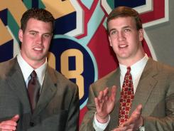 Ryan Leaf, left, was nearly taken ahead of Peyton Manning by the Colts in the 1998 draft.