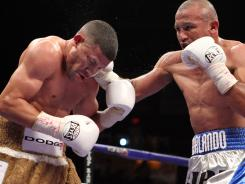 Orlando Salido's right hand proved to be the downfall of Juan Manuel Lopez, left, in their first fight last April.