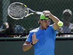 Rafael Nadal of Spain, getting in some practice at the BNP Paribas Open in Indian Wells, Calif., lost to Novak Djokovic in a 5-hour, 53-minute final at the Australian Open.