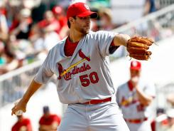 Cardinals starting pitcher Adam Wainwright made his spring training debut on Friday, throwing two scoreless innings in his continued recovery from Tommy John surgery.