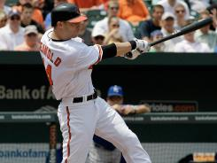 Reimold, who hit .247/.328/.453 last season, was taken to a hospital for tests after taking a pitch to the head. The CT scan revealed no broken bones.
