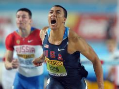 Ashton Eaton wins the 60-meter hurdles in 7.68 seconds at the 2012 IAAF World Indoor Championships in Istanbul.