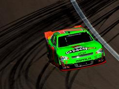 Danica Patrick drives through a tire-marked corner during Saturday's Nationwide Series race as Las Vegas Motor Speedway. She was 12th, her best finish in 2012.