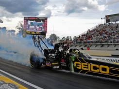 NHRA Top Fuel dragster driver Morgan Lucas during qualifying for the Gatornationals at Auto Plus Raceway in Gainesville, Fla.