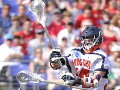 Colin Briggs, shown in action at last year's Final Four, scored twice Saturday against Cornell, including the winner in overtime.