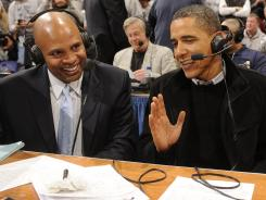 President Obama and Clark Kellogg shared airtime during a Georgetown-Duke game in 2010.