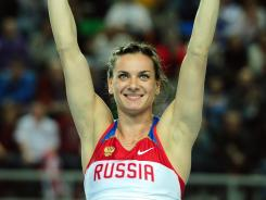 Russia's gold medal winner Yelena Isinbayeva celebrates during the women's pole vault final at the 2012 IAAF World Indoor Athletics Championships at the Atakoy Athletics Arena in Istanbul on Sunday.