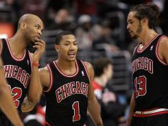 Derrick Rose (1), Taj Gibson (22), Joakim Noah (13) and the Bulls have the best record in the NBA and the top spot in the power rankings.