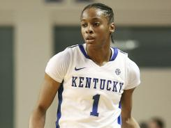 Kentucky Wildcats guard A'dia Mathies is one of 15 finalists for the Wooden Award as national player of the year.