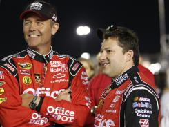 Tony Stewart, right, hired crew chief Steve Addington after winning the 2011 Sprint Cup championship. The pair earned their first win together Sunday in Las Vegas.