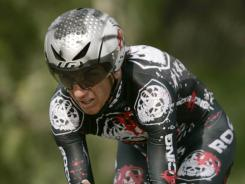 U.S. cyclist Tyler Hamilton, of Team Rock Racing, seen during the individual time trial of the Tour of California cycling race in Solvang, Calif., in this file photo dated Friday, Feb. 20, 2009. It was revealed on Sunday March 11, that the International Olympic Committee (IOC) is investigating whether to strip Hamilton of his gold medal in the 2004 Athens Olympics following his admission of doping.