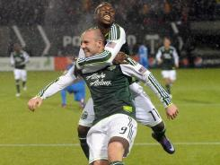Portland's Kris Boyd celebrates with Kalif Alhassan after scoring a goal during the second half of the Timbers' 3-1 win over the Philadelphia Union on Monday.